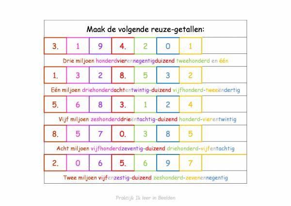 Beelddenkers hebben vaak moeite met de plaatswaarden. Waar hoort welk getal? Voor rekenen is het van belang dat je kind ook de plaatswaarden goed begrijpt…. hiermee kun je oefenen en de dingen duidelijk maken! Het bestand bestaat uit 8 bladzijden, met de losse getallen kun je puzzelen om de reuzegetallen te maken. Download: Plaatswaarden in …