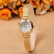 Senhoras relógios mulheres relógio de ouro real Dial pulseira de aço inoxidável relógio de pulso de quartzo(China (Mainland))