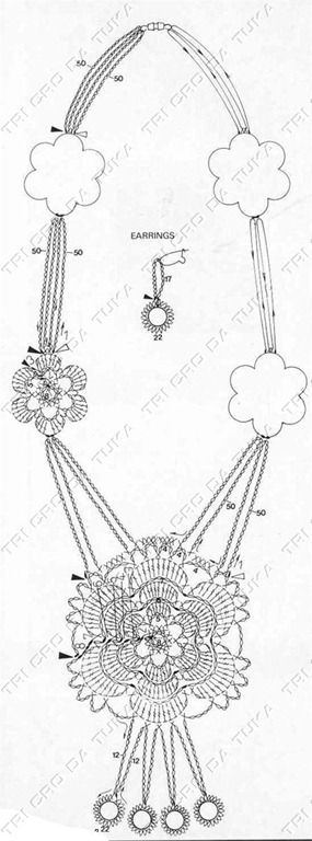 Chart for crochet necklace and earings.