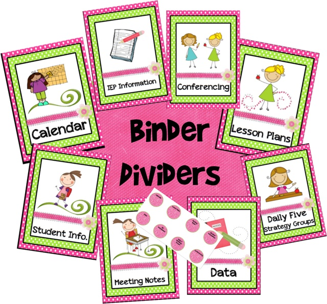 Teacher Binder Calendar & Divider Freebies