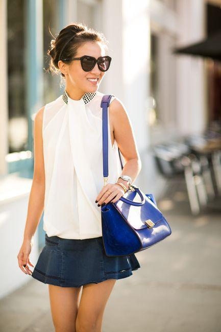 Blue Paradise :: Denim skirt & Indigo bag : Wendy's Lookbook