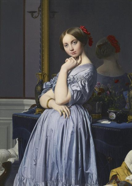 Jean-August-Dominique Ingres, the greatest French portrait painter of his day, created this view of the Comtesse d'Haussonville -- formerly Louise, Princesse de Broglie, who married the Comte at 18 years old. The work met with a 'storm of approval' for its intimate portrayal of the princess. Get this print for 20% off using the code VP20 at checkout on VintPrint.com!