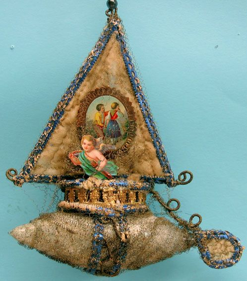Wire-Wrapped Glass & Cotton Batting Victorian Christmas Ornament. Scrap & Dresden Trim