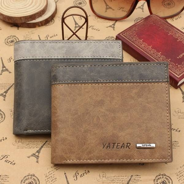 Men's PU Leather Bifold Wallet ID Business Credit Card Holder - US$5.69
