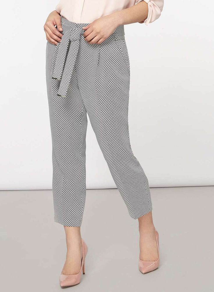 Womens Petite White and Black Textured Tie Waist Trousers- Black