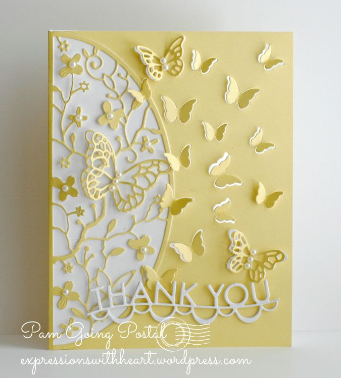 hand crafted Thank You card by Pam Sparks ... buttery yellow aand white ... die cuts ... butterflies galore ...