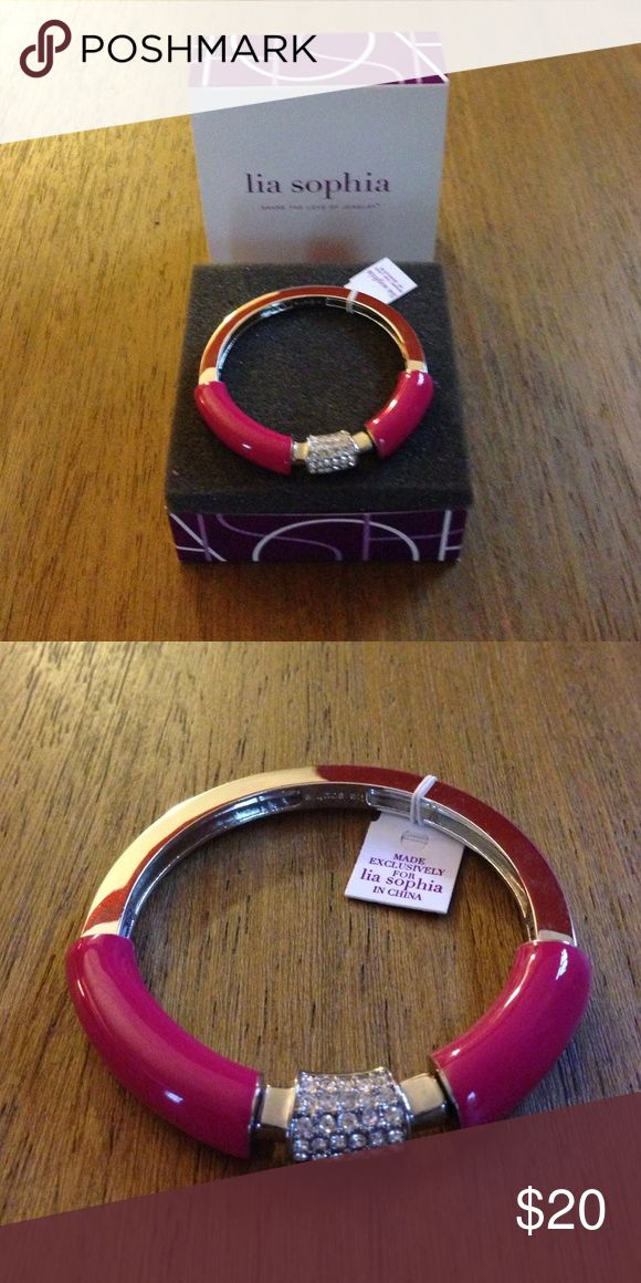 Lia Sophia Technicolor bracelet in Fuschia - NWT Brand new with tags Lia Sophia Technicolor stretch bracelet in fuschia and silver. Has never been worn and still in original box. Lia Sophia Jewelry Bracelets