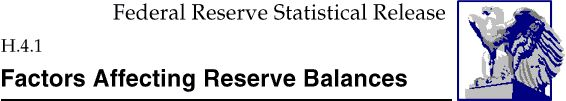 Federal Reserve Statistical Release, H.4.1, Factors Affecting Reserve Balances; title with eagle logo links to Statistical Release home page