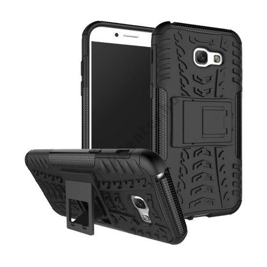Samsung Galaxy A5 (2017) (SM-A520F) Defender műanyag telefonvédő (közepesen ütésálló, gumi / szilikon belső, kitámasztó, autógumi minta) FEKETE