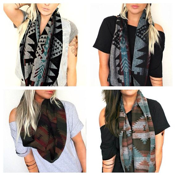 Chunky winter Scarves + Infinity scarves + Tribal Scarves + Southwest Scarves + Aztec Scarves + Winter Scarves