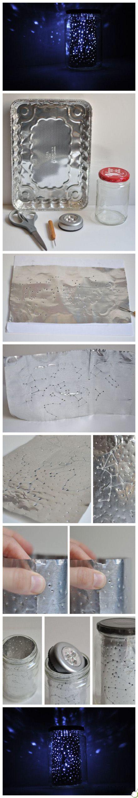 Lanterna com forma de papel aluminio e pote de vidro