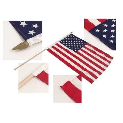 "US Stick Flag 12in x 18in 24in wood stick Best Quality by US Flag Store. $1.20. Mounted on a 24"" Wooden Stick with a Spear Tip. US Stick Flag 12in x 18in. US Flag with Sewn Edges and Pole Sleeves (Allows you to Slide the Flag On and Off the Stick). These Flags Match our State, Military, Historical, and International 12"" x 18"" Stick Flags. Stick Diameter 5/16"". Assembled in the US.. Retired Military flags made of 100% Polyester. These flags come with a canvas heading and..."
