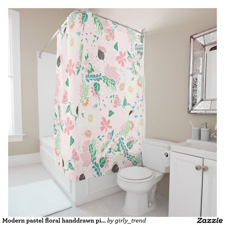 Modern pastel floral handdrawn pink pattern shower curtain.  Artwork designed by Girly Trend. Price $68.56 each
