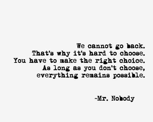 Mr. Nobody explains indecision perfectly.