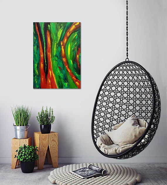 Abstract Painting Original. Oil Painting. Green Abstract Art.