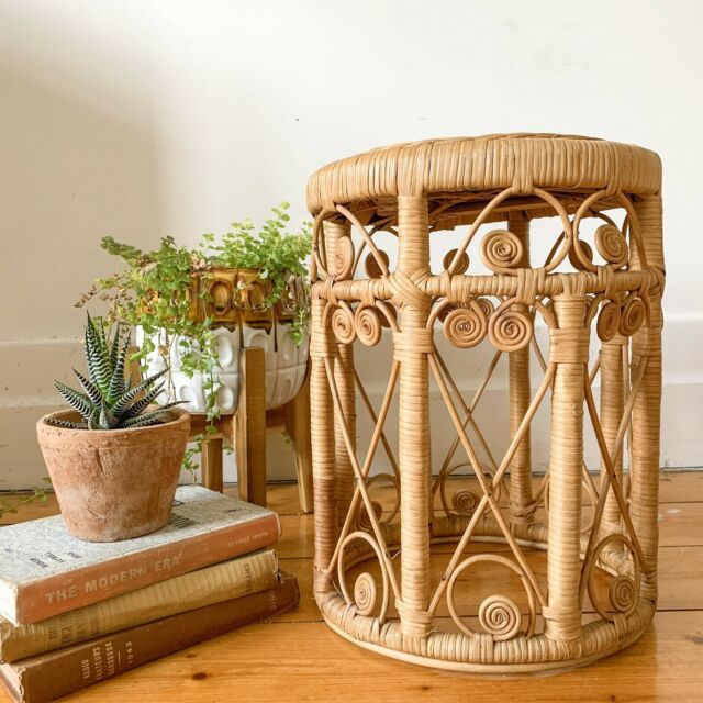 Vintage Rattan Peacock Stool Plant Stand Cane Wicker Buffets Side Tables Gumtree Australia Moreland Area Coburg 1231814 In 2020 Plant Stand Side Table Rattan