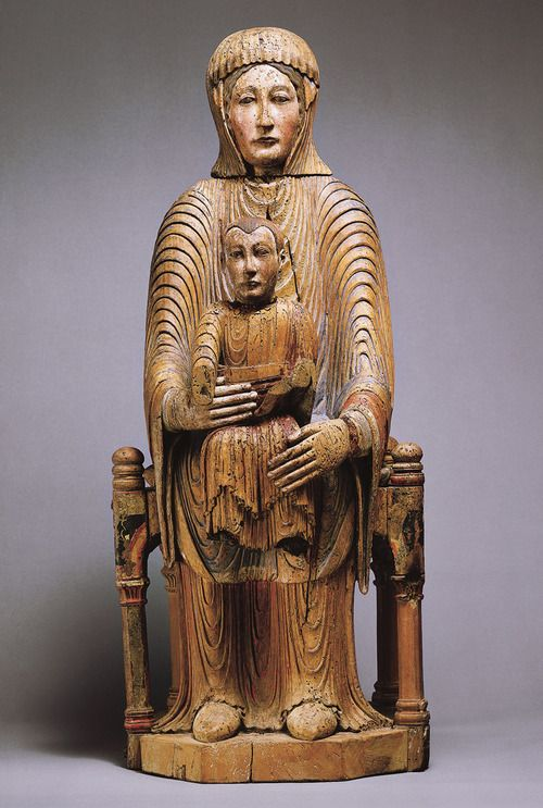 TITLE: Morgan Madonna  ARTIST:Unknown  DATE: 12th century  TIME PERIOD: Romanesque  LOCATION: Metropolitan Museum of Art, NY  MEDIUM: painted wood