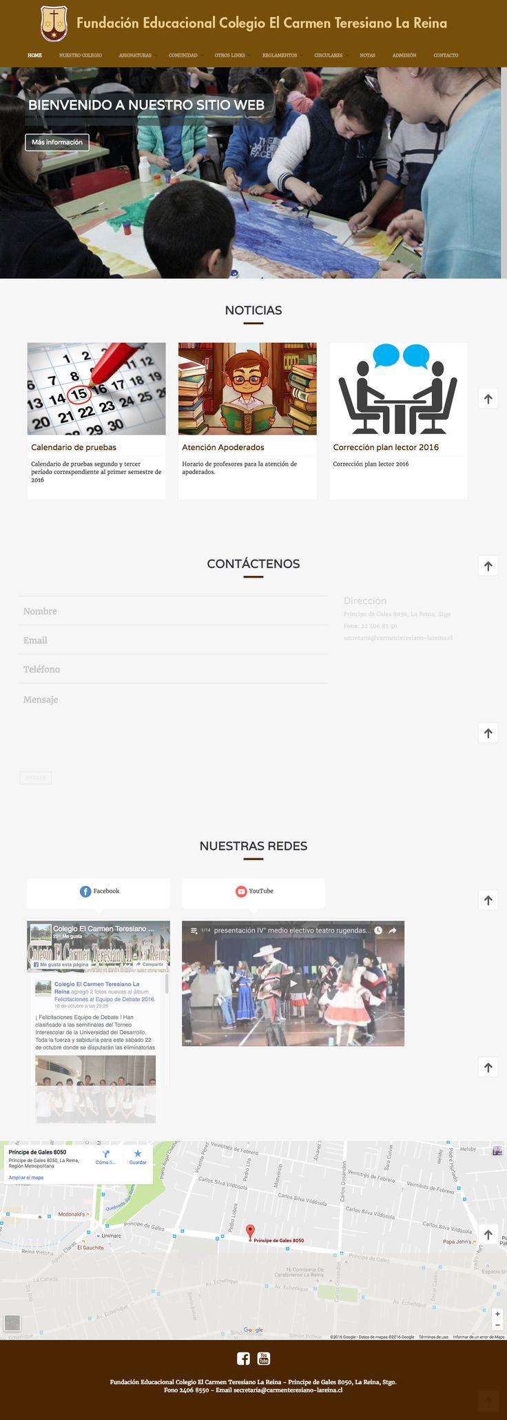 Sitio web realizado para Fundación Educacional Carmen Teresiano La Reina