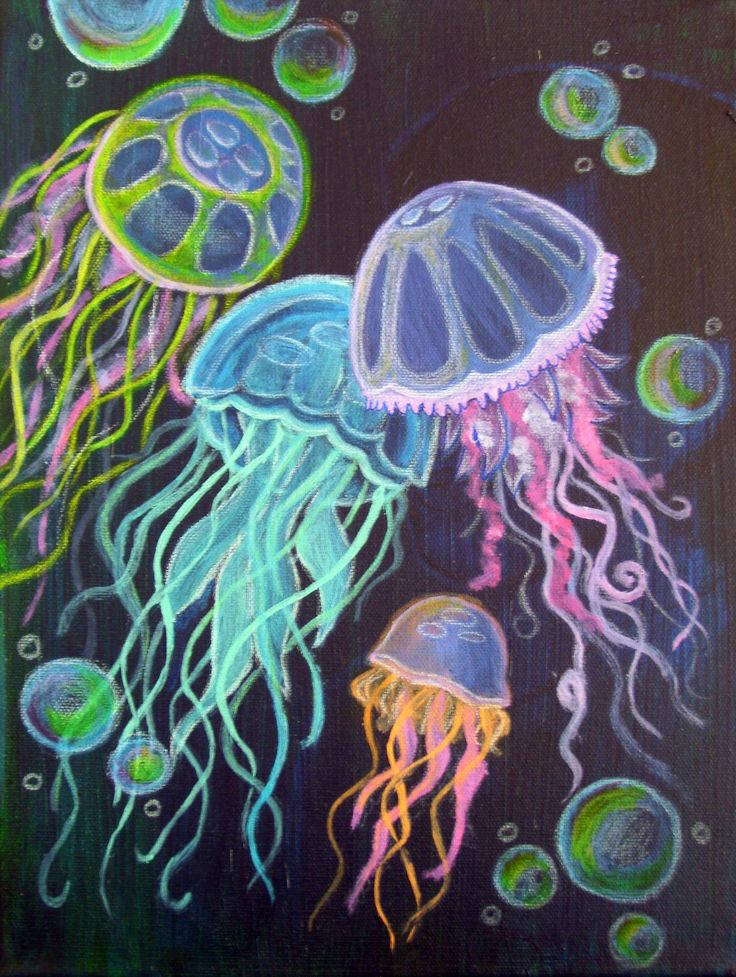acrylic paintings of jellyfish - Google Search