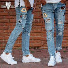 Erkek Kot Pantolon Mavi Dizleri Yırtık Armalı Jeans