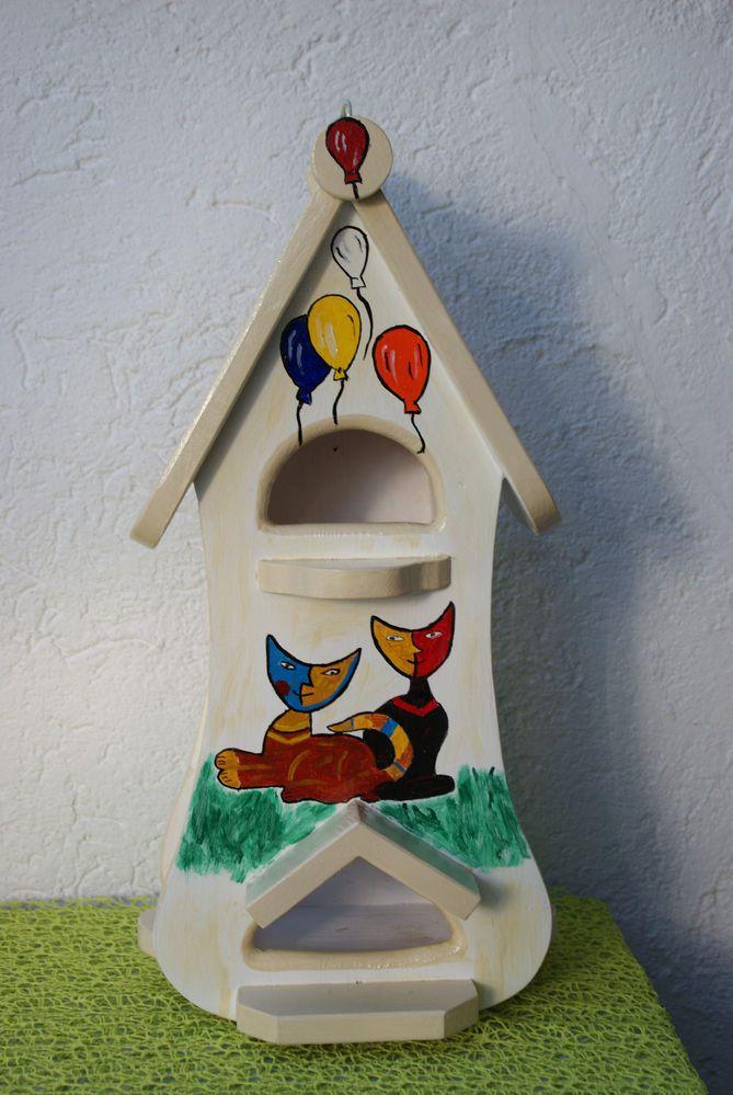 Vogelvilla - Vogelhaus NEU - Unikat - Handarbeit - 2 Futterplätze - mit Haken