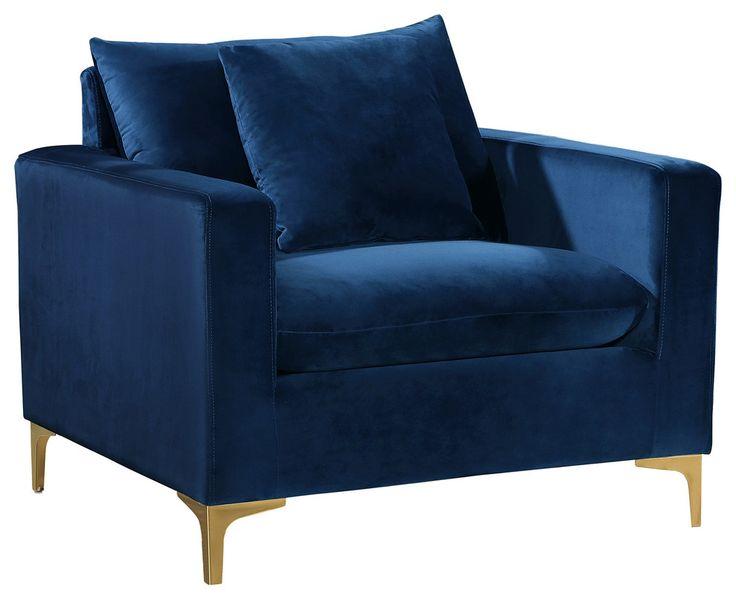 Naomi Velvet Chair, Gold and Chrome Leg Set Contemporary