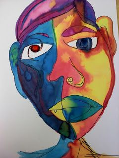 Watercolor Picasso Portraits using warm and cool complimentary colors. Thx to Teaching with heART