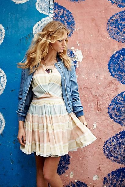 #Chambray #Bomber #Watercolor #Mirage #Dress via #Anthropologie #PaperCrown #LaurenConrad