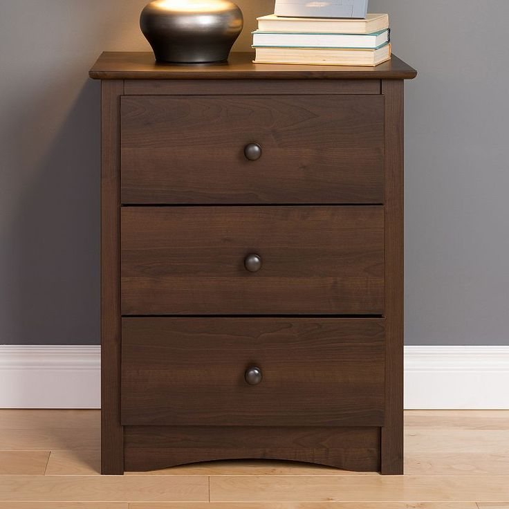 prepac fremont 3drawer tall espresso nightstand brown