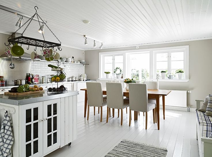 All White Kitchen Tongue And Groove Ceiling Summerhouse