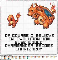 Pokemon charmander Evolution free Cross Stitch Pattern