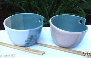 Australian Shepherd Pottery Stoneware Rice Noodle Bowls With Chopsticks IN Aust | eBay