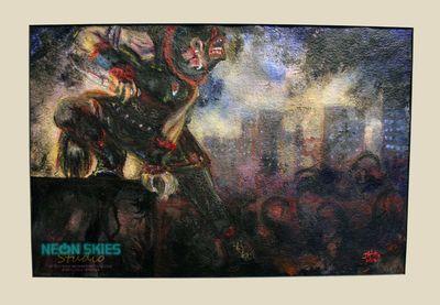 """Apocrypha"" (Huntress Hood) by Jala Prendes/Neon Skies Studio LLC. #painting #acrylic #ink #makeart #art #artist #painter #huntresshood #huntress #hood #claws #knives #dark #scary #wolf #mask #woman #womanartist #supportlocalart #houston #texas #skyline #skyscrapers #urban #city"