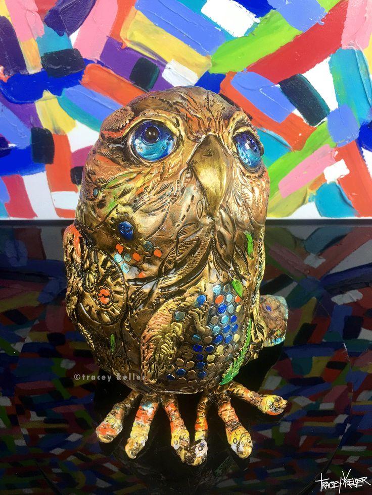Tracey Keller Owl Bronze Sculpture