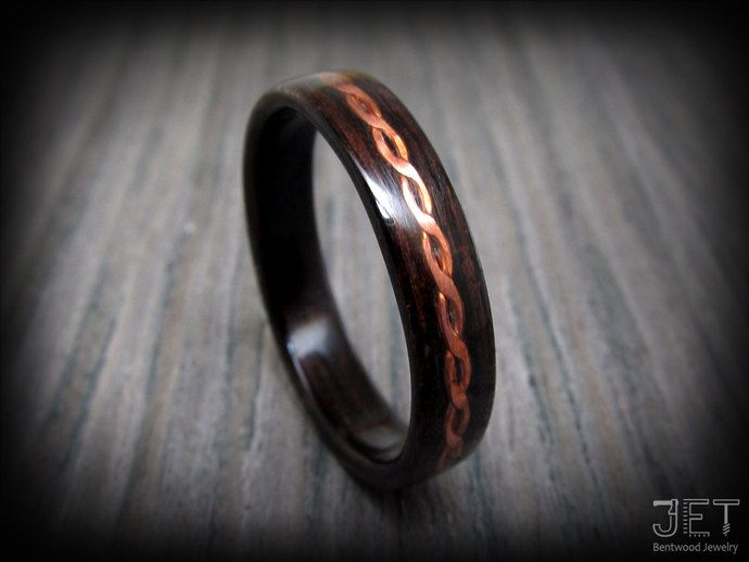 Steam Bent-Wood Ring, Macassar Ebony with Twisted and Hammered Copper Wire Inlay. Captivating and extremely durable ring for everyday wear by JET Bentwood Jewelry, $150.00 USD