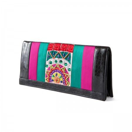 Lacrom Store || Ghingi Mingi Goi, Accessories, Bag  Eco-leather bag with beaded embroidery. Leather is black with multi-colored embroidery.