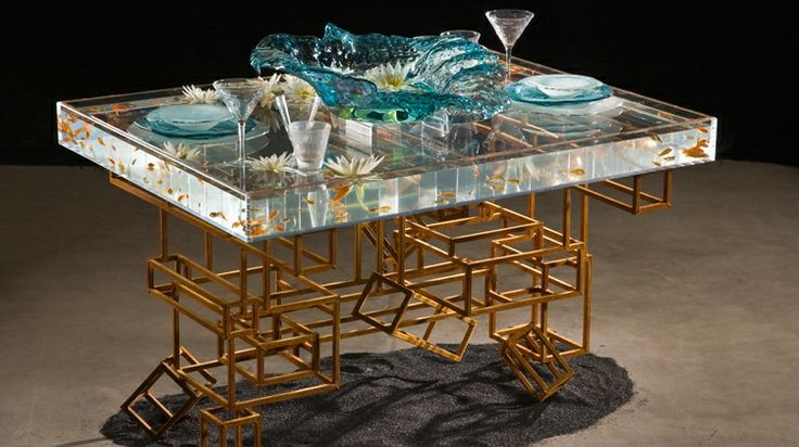 24 best d e s i g n t a b l e s c a p e s images on for Fish tank dining room table