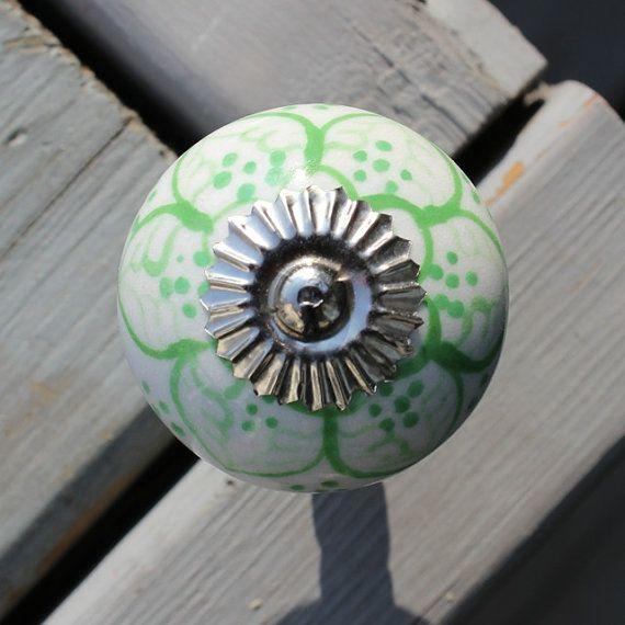 White Ceramic Drawer Knobs   Cabinet Knobs   Dresser Knobs Light Green  Pattern (CK01)