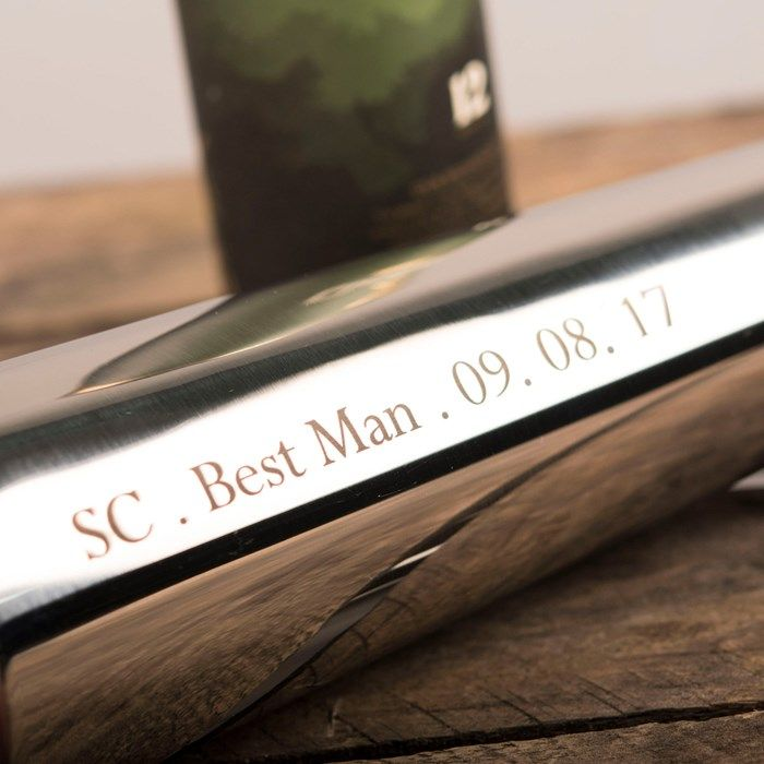 Personalised Long Stem 8oz Hip Flask - Any Message