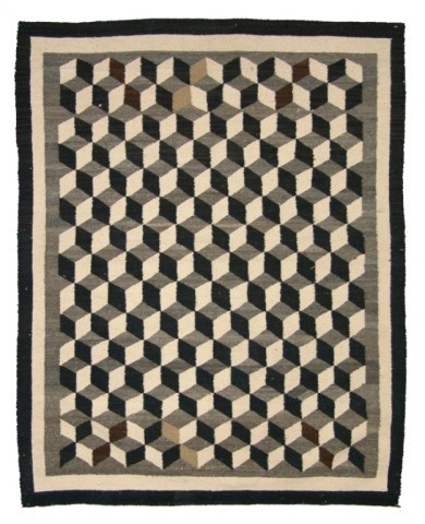 Navajo Rug/Weaving with  famous optical pattern. Circa: Mid 1900s