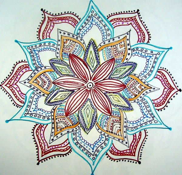 Flower Mandala by Gladys Childers - Flower Mandala Drawing - Flower Mandala Fine Art Prints and Posters for Sale