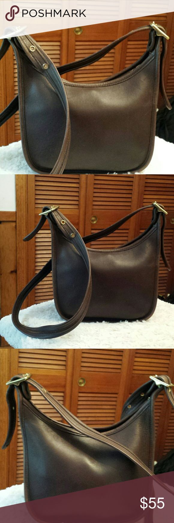 Coach Brown Leather Crossbody Bag Coach Legacy Janice Brown Leather Crossbody Bag, Creed 9950, Zippered Closure, Slip pocket inside, some wear on edges and marks on leather, no tag Coach  Bags Crossbody Bags