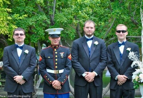 Groomsmen and groom. Marine wedding,  oorah!