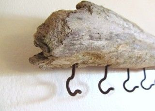 Driftwood and hooks...would add carpenters glue or Lumber Lock to make sure the hooks stay inside the driftwood as it may be very very dry.