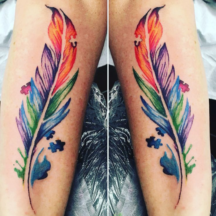 Autism tattoo feather