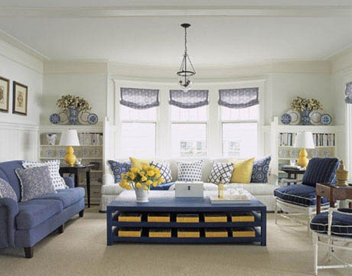 Love This Navy White Yellow Living Room