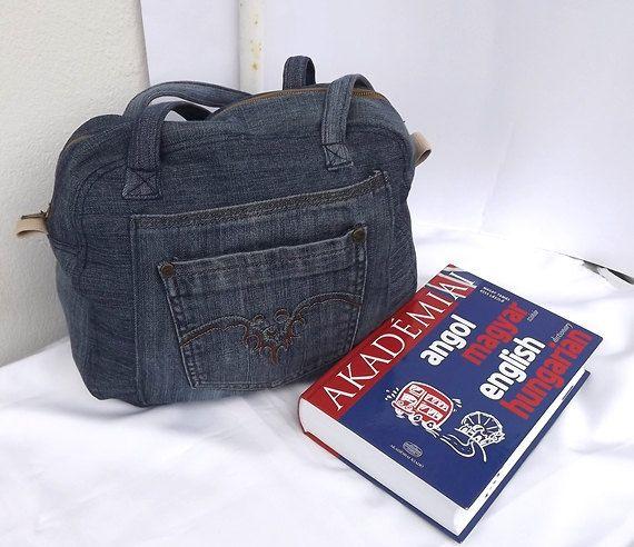 Denim messenger bag OOAK handmade by Mariannasboutique on Etsy, $40.00