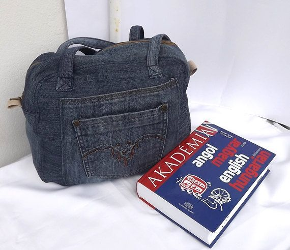 Denim messenger bag OOAK handmade by Mariannasboutique on Etsy, $40.00