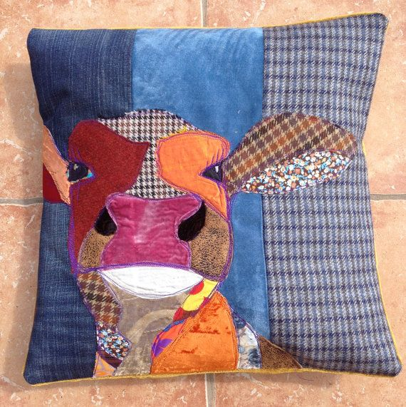 Blue background, handmade pillow with a cow portrait.A unique item individually designed. Very chic and country style.