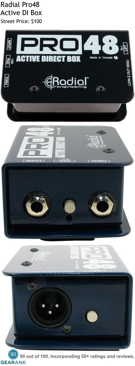 """Radial Pro48 Active DI Box. Features - Active DI Box Design - Phantom Powered  -15dB Pad - Input 1/4"""", Output 1 XLR and 1 1/4"""" Thru - Weight: 1.55lbs For a detailed Guide to DI Boxes see https://www.gearank.com/guides/di-box"""